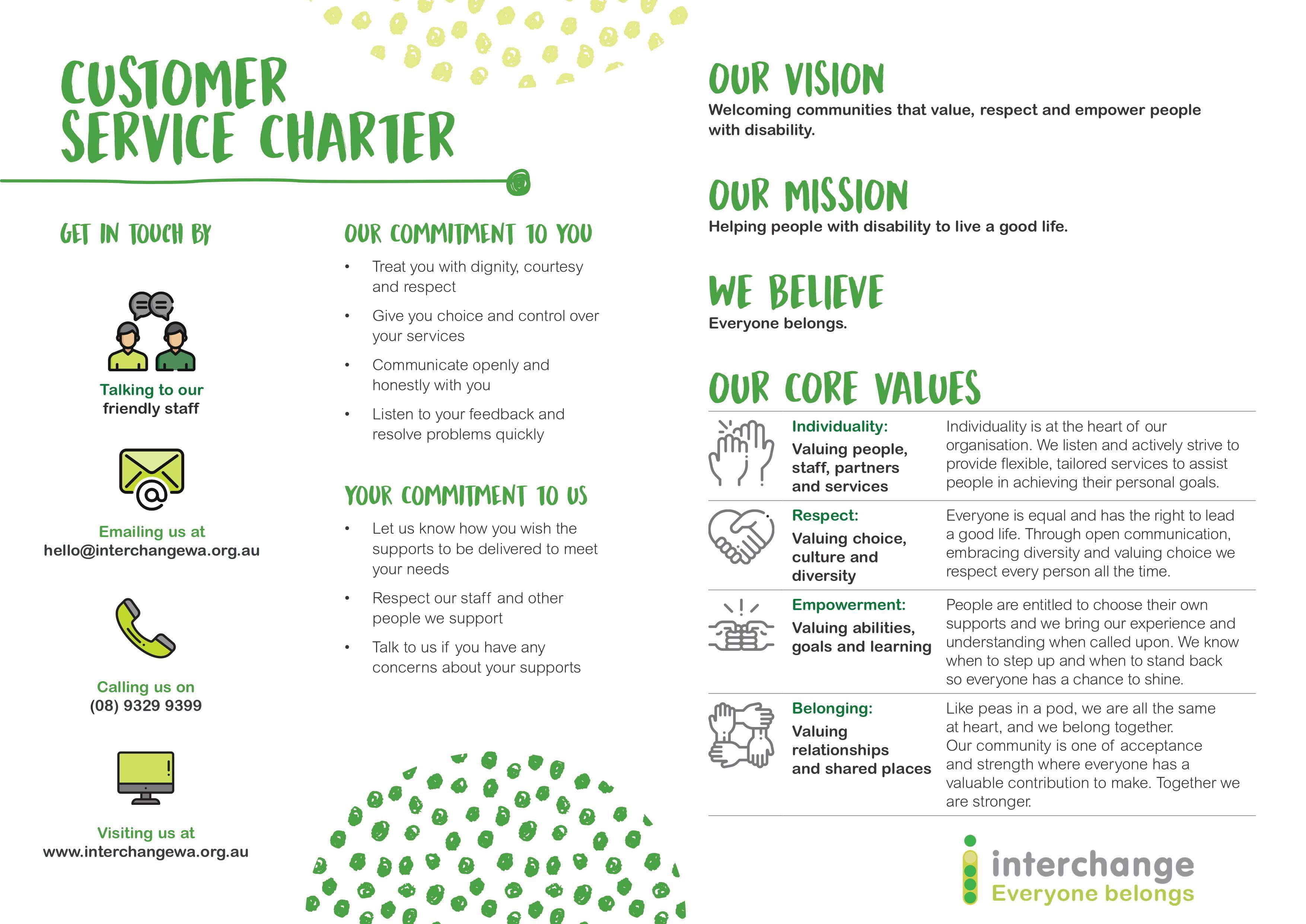 Customer Service Charter Fact Sheet